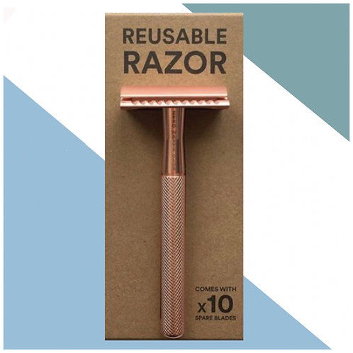 Rose Gold Stainless Steel Razor & 10 x Complimentary Blades