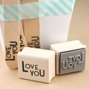 LOVE YOU Wooden Rubber Stamp