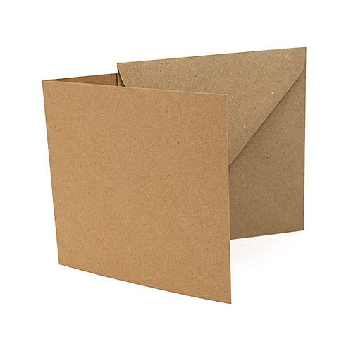 Recycled Square Card Blanks with Envelopes, Recycled Brown Kraft (10 Pack)