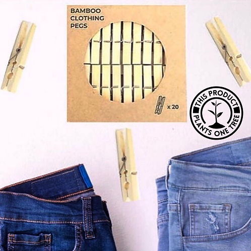 Bamboo Laundry Pegs (x20)