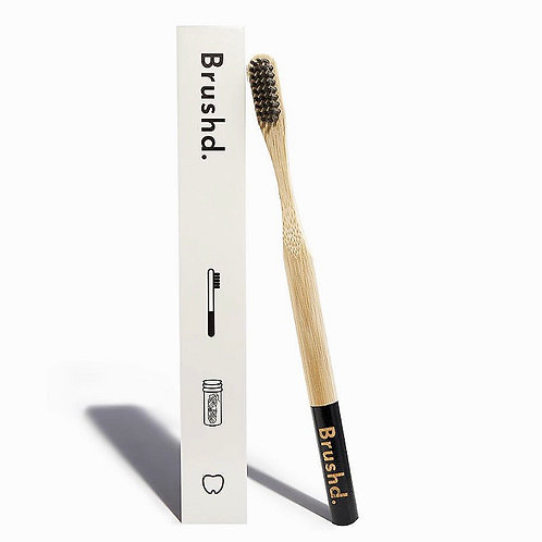 Brushd. Charcoal Bamboo Adult Toothbrush (black, medium bristles)