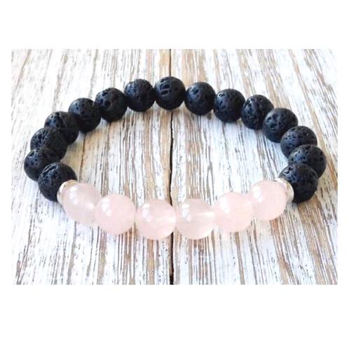 Rose Quartz & Lava Rock Bracelet