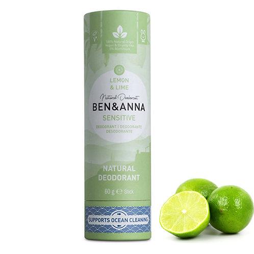 (Bicarb-Free) Sensitive Lemon & Lime Natural Deodorant Stick - 60g