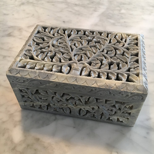 """Honeysuckle"" Rectangular Hand Carved Soapstone Decorative Keepsake Box"