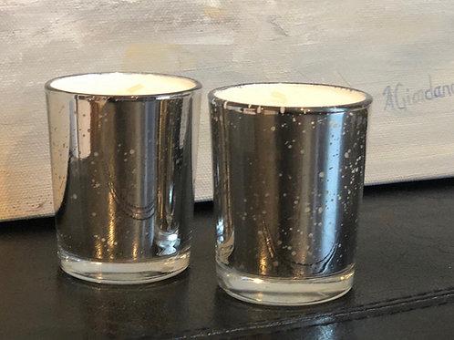 Mercury Glass Votive Pair