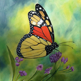 Monarch Butterfly with Purple Flowers By Andrea Giordano