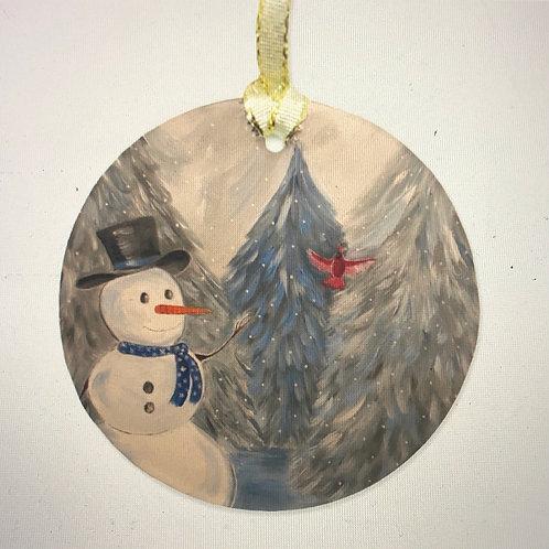 Snowman Glass Ornament