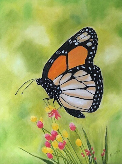 Monarch Butterfly with Pink Flowers