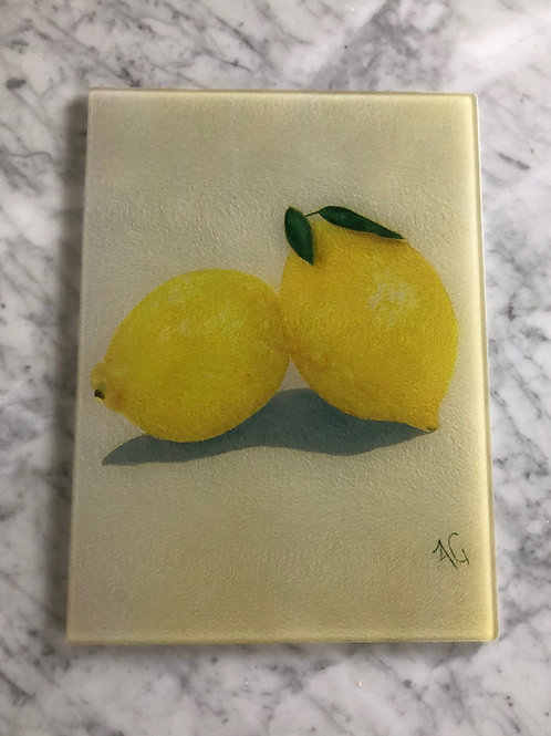 Lemons Large Glass Cutting Board
