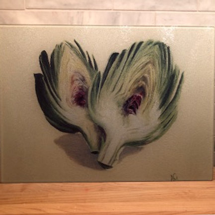 Artichoke Small Glass Cutting Board