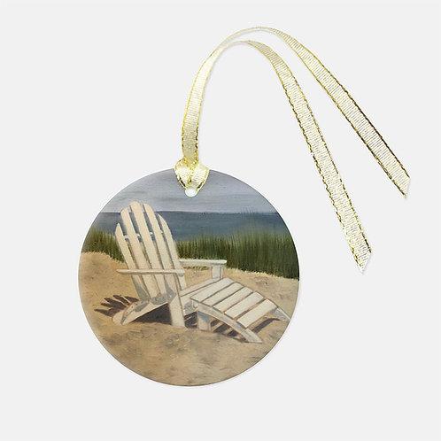 Beach Chair Glass Ornament