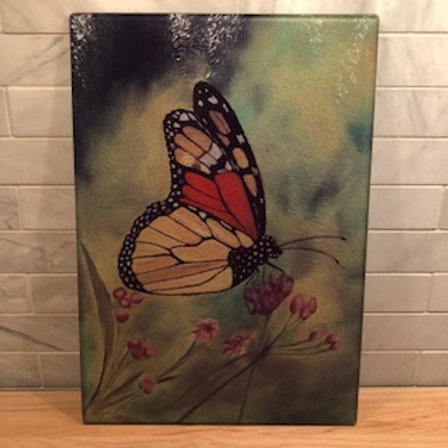 Butterfly With Purple Flowers Large Glass Cutting Board