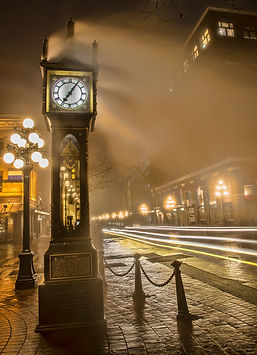 Gastown Steam Clock With Car Light Streaks.jpg