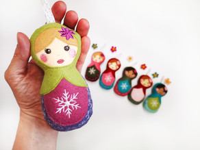 Matryoshka Doll Winter Ornaments