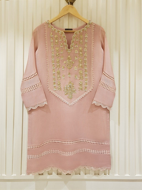 AGHA NOOR Embroidered Cotton Net Shirt