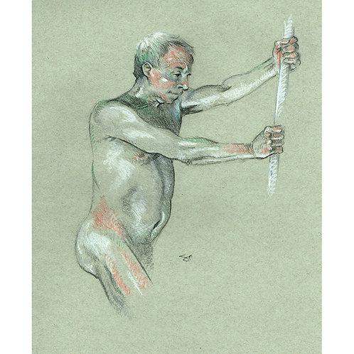 barry with pole - original art