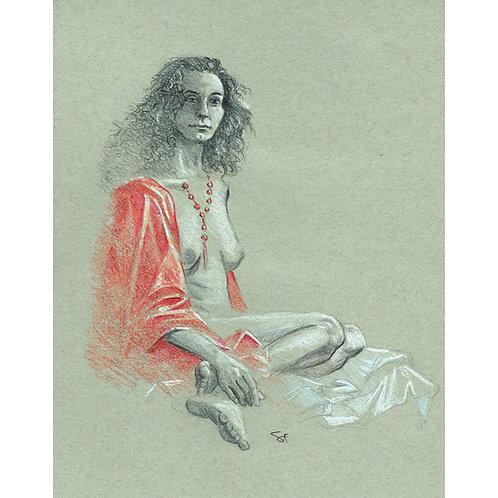 lulu with red drape - original art