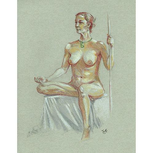 jen seated with pole - original art