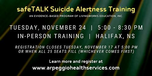 safeTALK Suicide Alertness Training - Halifax, NS