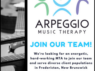 Join our team! We're hiring a Certified Music Therapist to serve our Fredericton area clients.