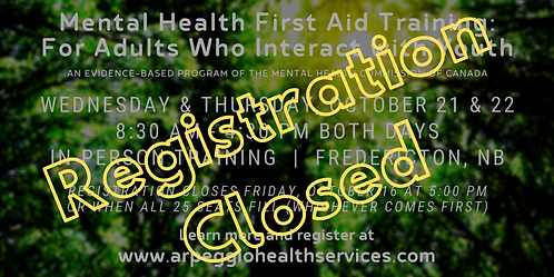 Mental Health First Aid Training: YOUTH - Fredericton, NB