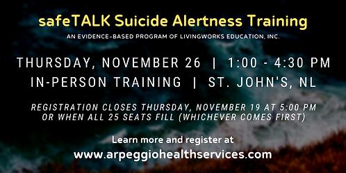 safeTALK Suicide Alertness Training - St. John's, NL