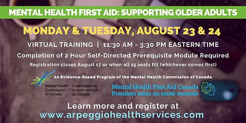 Mental Health First Aid: Supporting Older Adults - Virtual Training