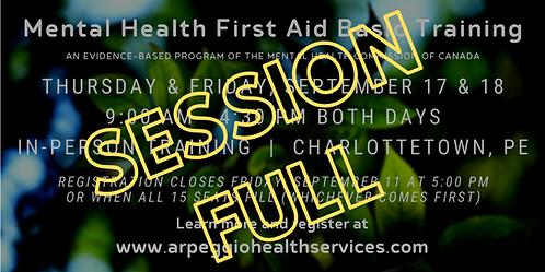Mental Health First Aid Basic Training - Charlottetown, PE