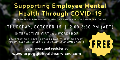 Supporting Employee Mental Health Through COVID-19 - Virtual Workshop