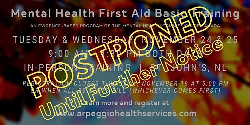 Mental Health First Aid Basic Training - St. John's, NL