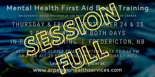 Mental Health First Aid Basic Training - Fredericton, NB
