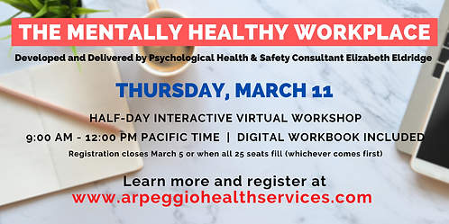 The Mentally Healthy Workplace - Virtual Training