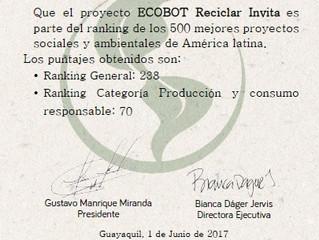 ECOBOT es parte del ranking de los 500 mejores proyecto sociales y ambientales de América Latina.