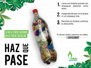 Ecobot se une a recolectar botellas llenas de empaques