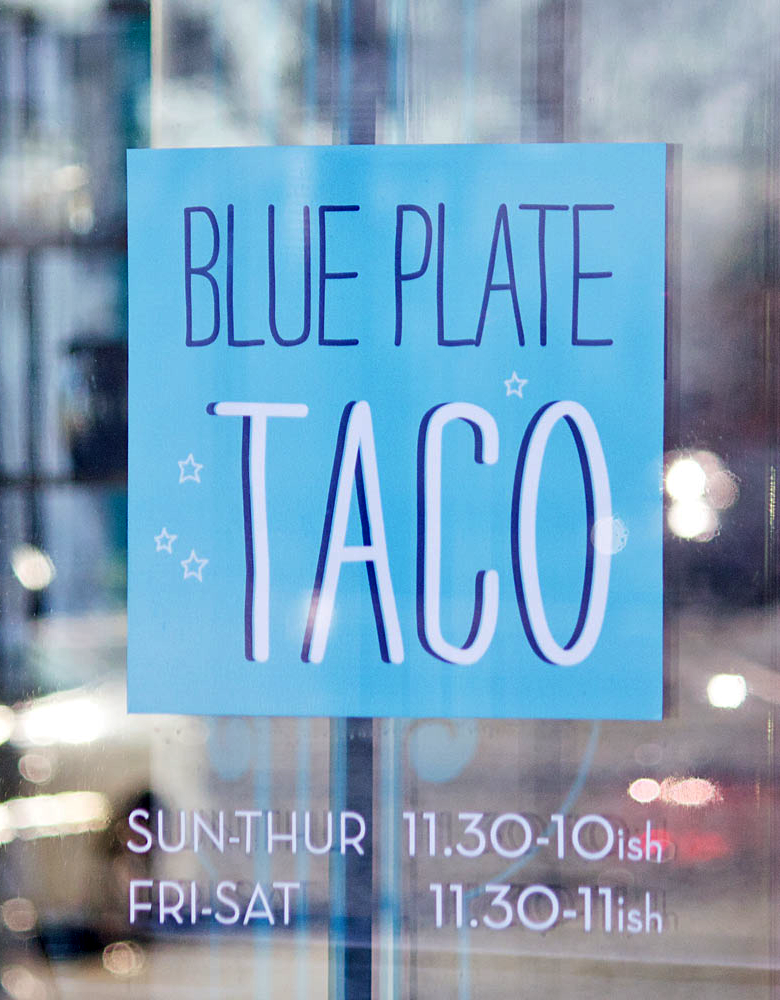 Blue Plate Taco Logo/Signage