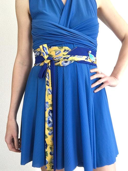 Ceinture Cravate Fleur Bleu