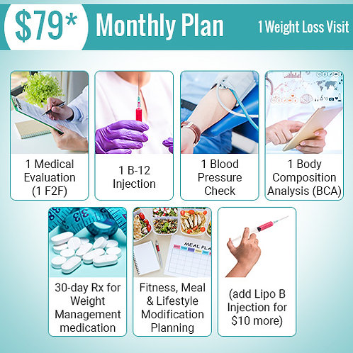 1 Weight Loss Visit - $79 Monthly Plan