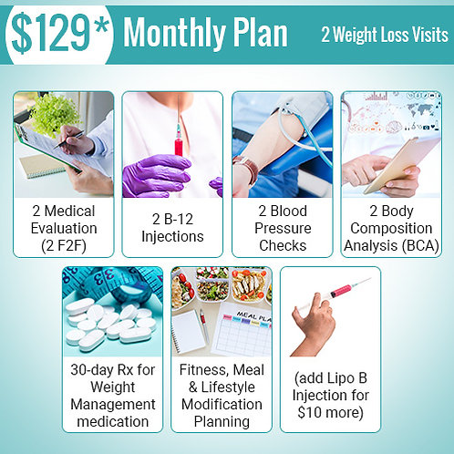 2 Weight Loss Visits - $129 Monthly Plan