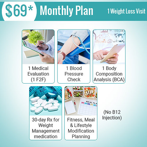 1 Weight Loss Visit - $69 Monthly Plan