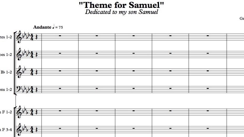 Theme for Samuel - Orchestral Score + Audio File