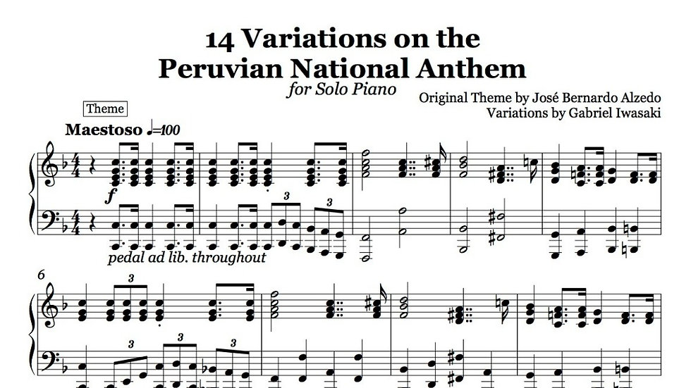 14 Variations on the Peruvian National Anthem - for Solo Piano