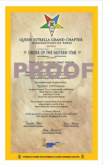 Order of the Eastern Star Member Certificate