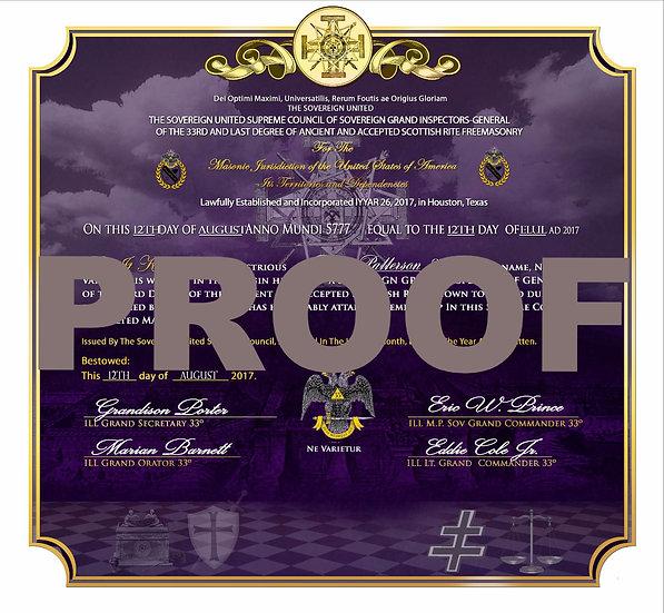 Grand Inspector General Member Certificate