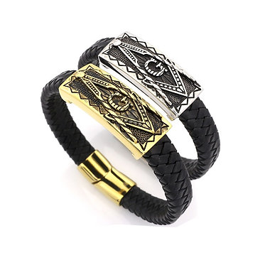 LEATHER BRAIDED MASONIC BRACELET
