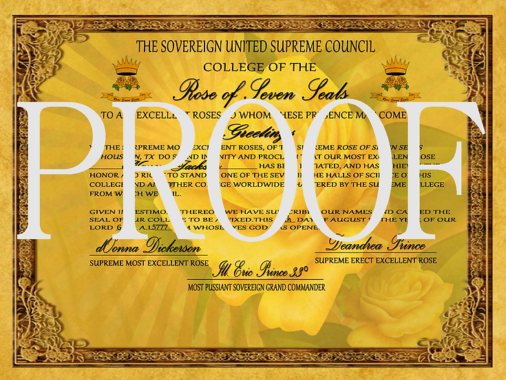 Rose of the Seven Seals Member Certificate