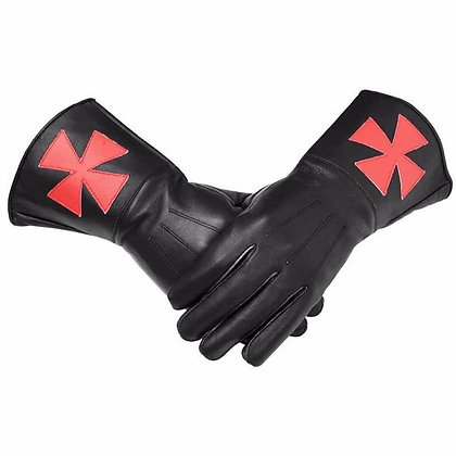 KNIGHT'S OF MALTA BLACK LEATHER GAUNTLETS