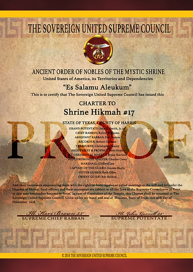 Nobles of the Mystic Shrine Charter