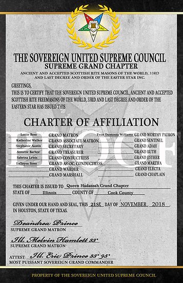 Order of the Eastern Star Charter of Affiliation