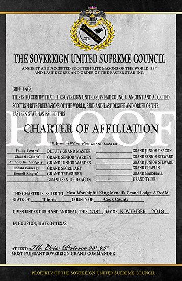 Masonic Lodge Charter of Affiliation