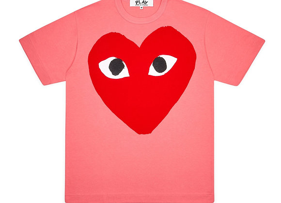 Comme des Garcon Red Play Big Heart Pink T-Shirt